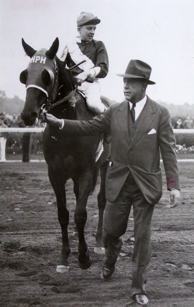 Hal Price Headley and Menow at Belmont, 1937 (Courtesy of Mill Ridge Farm)
