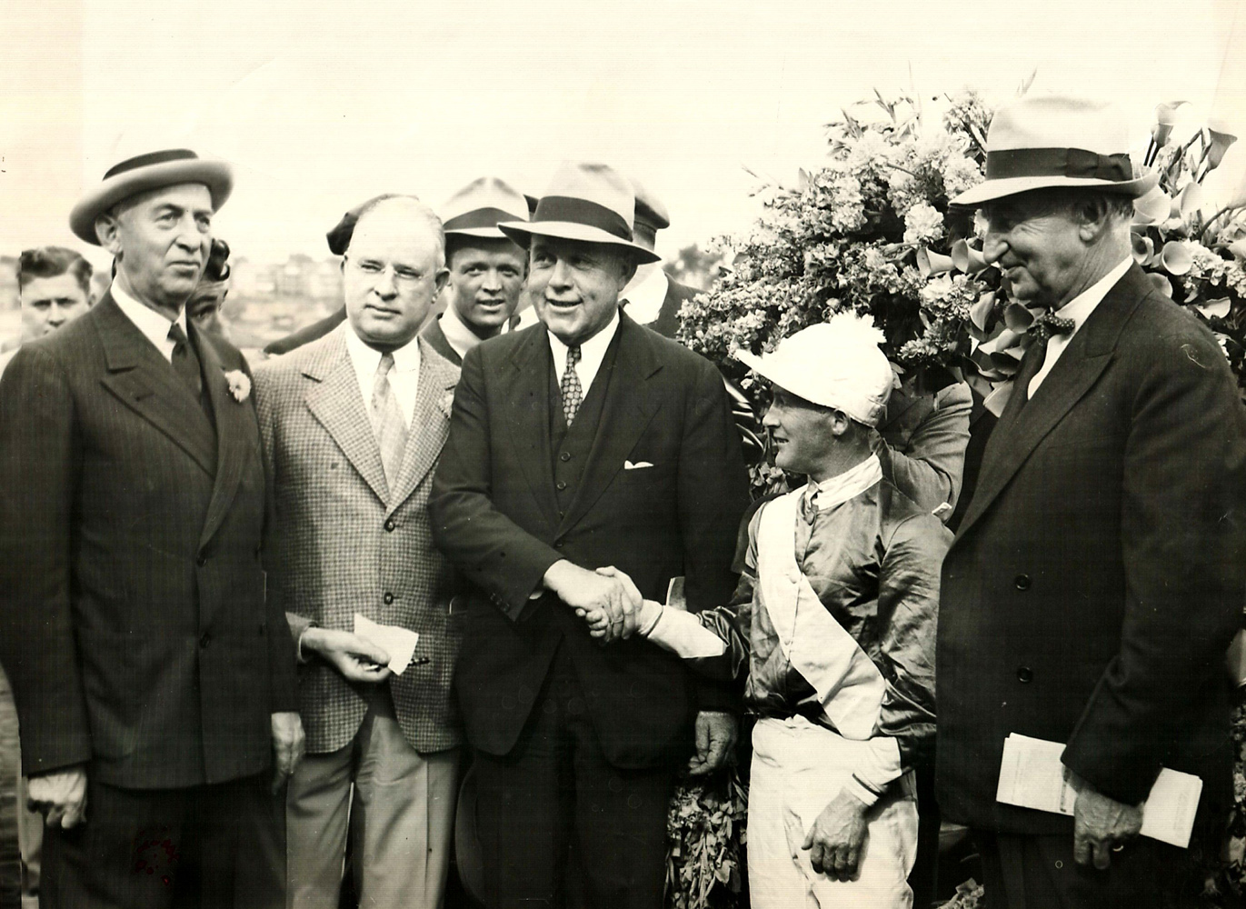 V. C. Wetmore, James H. Connors, Hal Price Headley, Nick Wall, and Charles F. Adams at the 1938 Massachusetts Handicap (Courtesy of Ken Grayson)