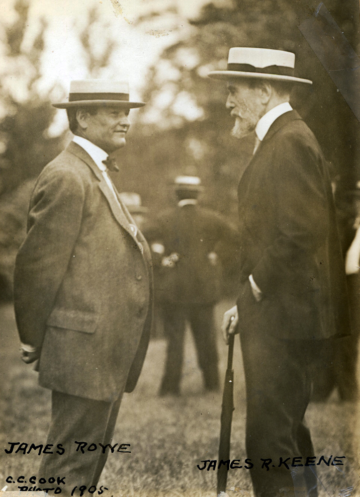 Trainer James Rowe (left) and James R. Keene (right) in 1905 (C. C. Cook/Museum Collection)
