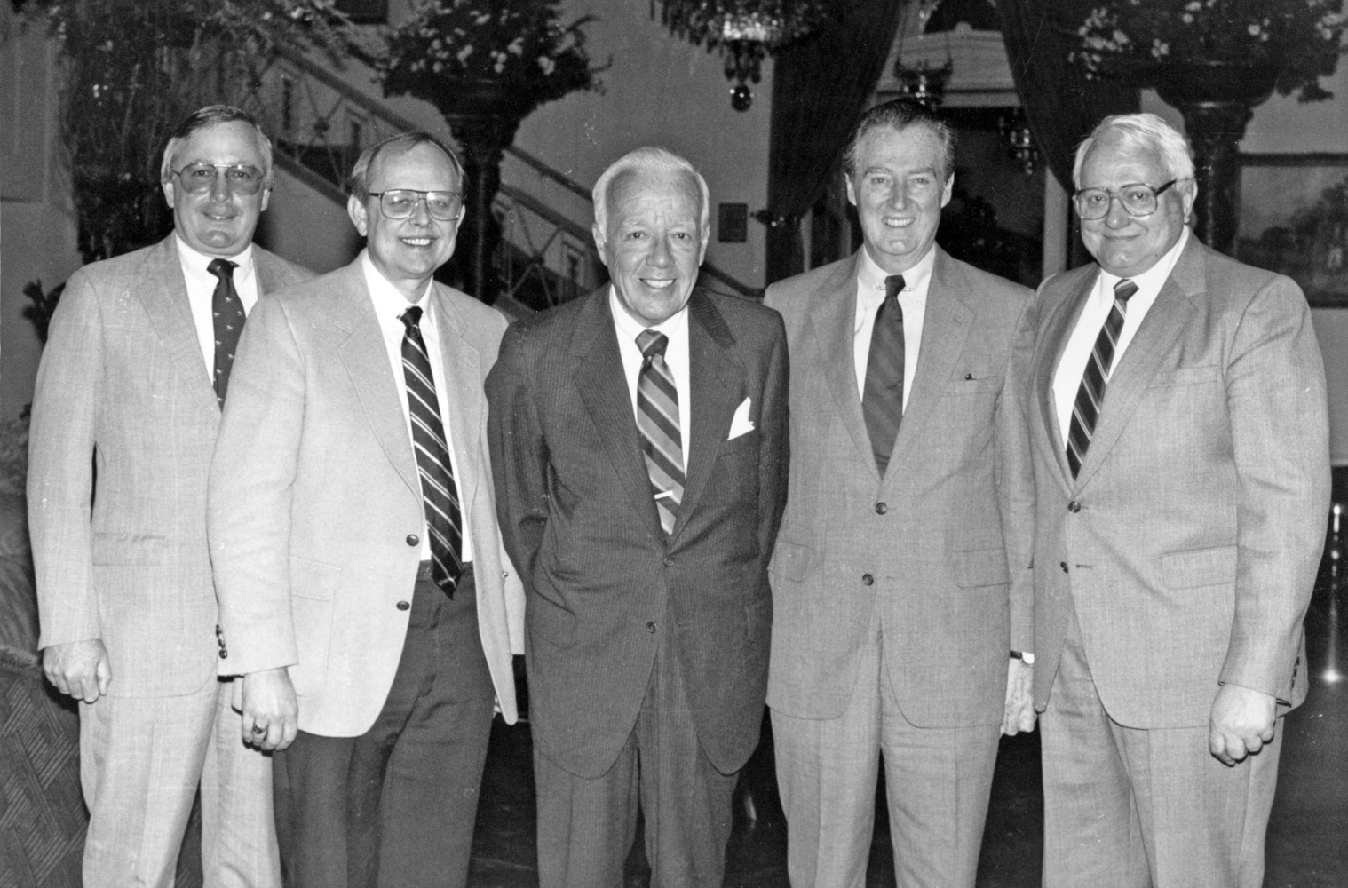 The 1986 Breeders' Cup Selection Committee, chaired by Jimmy Kilroe (center): Lenny Hale, Eual Wyatt, Tom Trotter, and Lou Cavalaris (Keeneland Library Thoroughbred Times Collection)