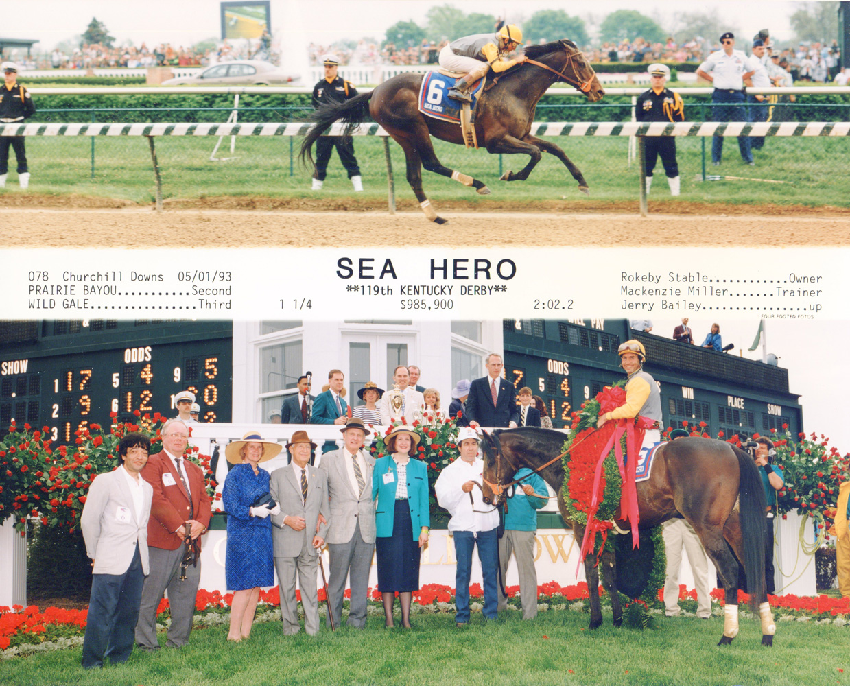 Win composite photograph for the 1993 Kentucky Derby (won by Paul Mellon's Sea Hero) (Four Footed Fotos, Inc./Museum Collection)