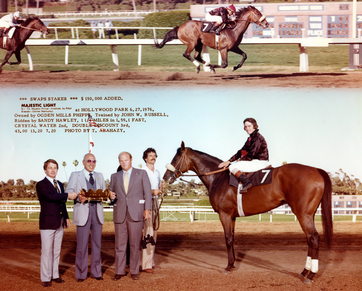 "Win composite photograph for the 1976 Swaps Stakes at Hollywood Park, won by Majestic Light (owned by Ogden Mills ""Dinny"" Phipps) (Hollywood Park Photo/Museum Collection)"