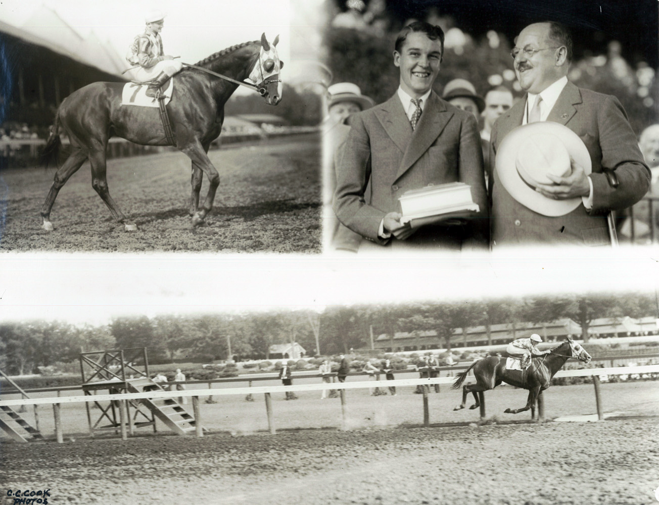 Win composite photograph for the 1934 Whitney at Saratoga, won by Discovery (owned by Alfred G. Vanderbilt II) (C. C. Cook/Museum Collection)