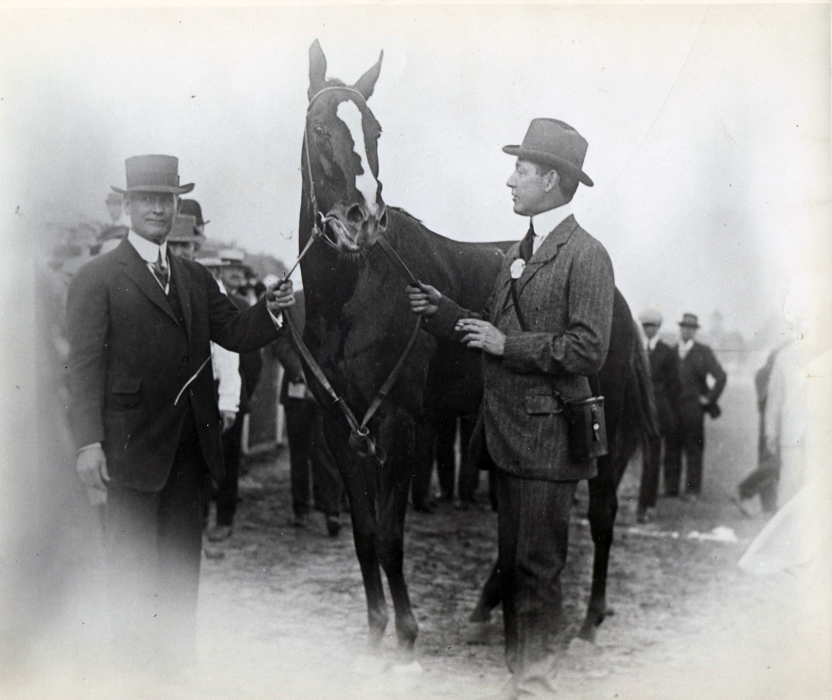 Trainer James Rowe, Regret, and owner H. P. Whitney (Museum Collection)