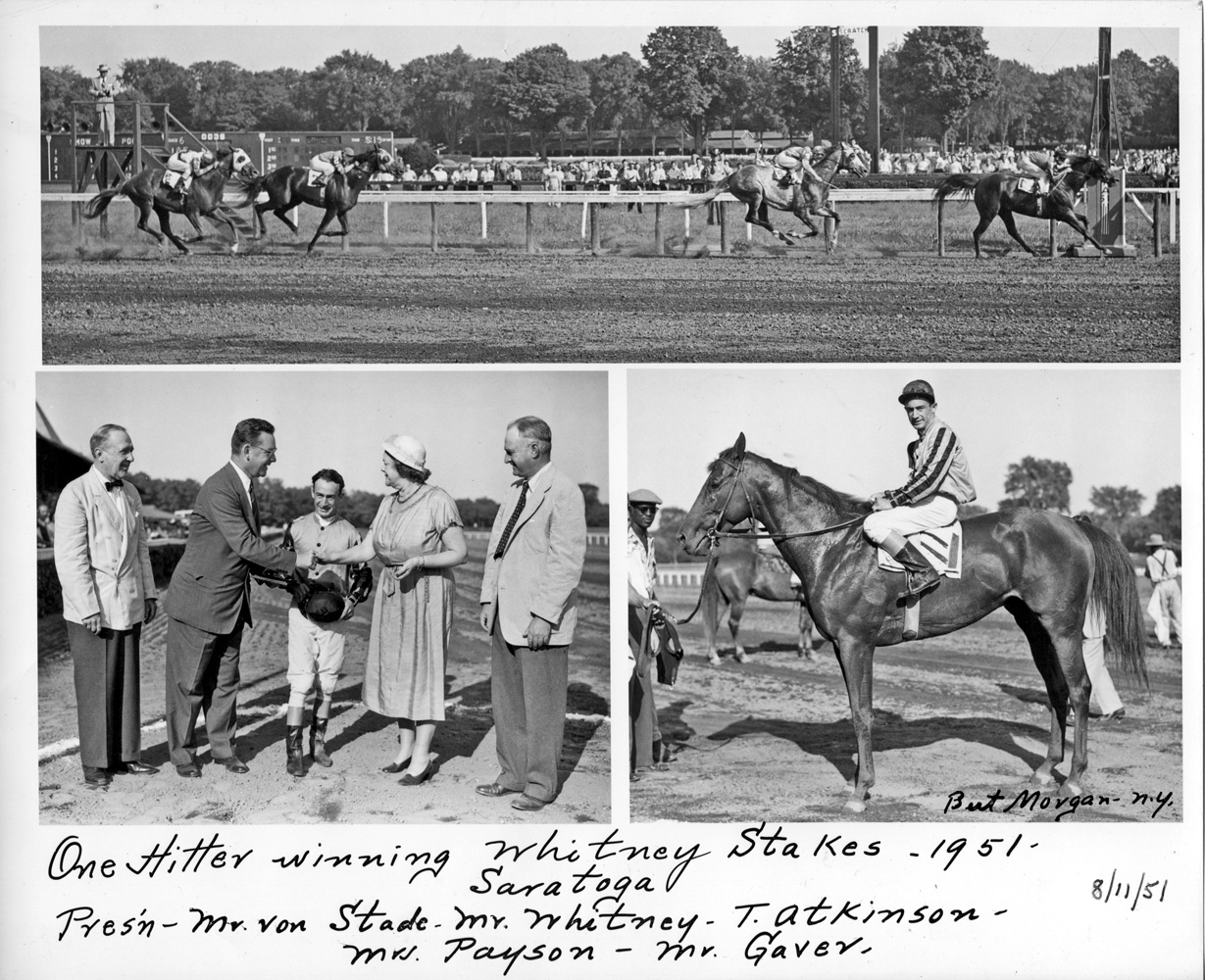Win composite photograph for the 1951 Whitney Stakes won by Greentree Stable's One Hitter (Ted Atkinson up) (Bert Morgan/Museum Collection)