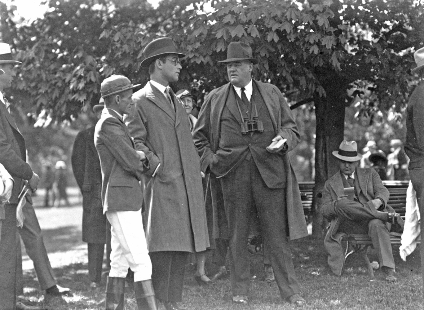 Jockey Lavelle Ensor, John Hay Whitney, and J. Healey (Keeneland Library Cook Collection/Museum Collection)