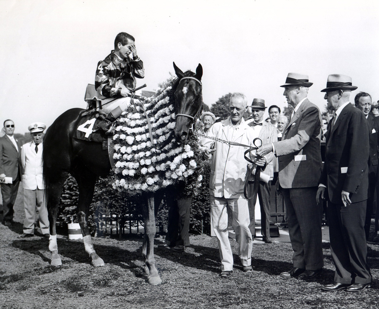 George D. Widener in the winner's circle with trainer Bert Mulholland and Jaipur (Bill Shoemaker up) for the 1962 Belmont Stakes (Mike Sirico/Museum Collection)