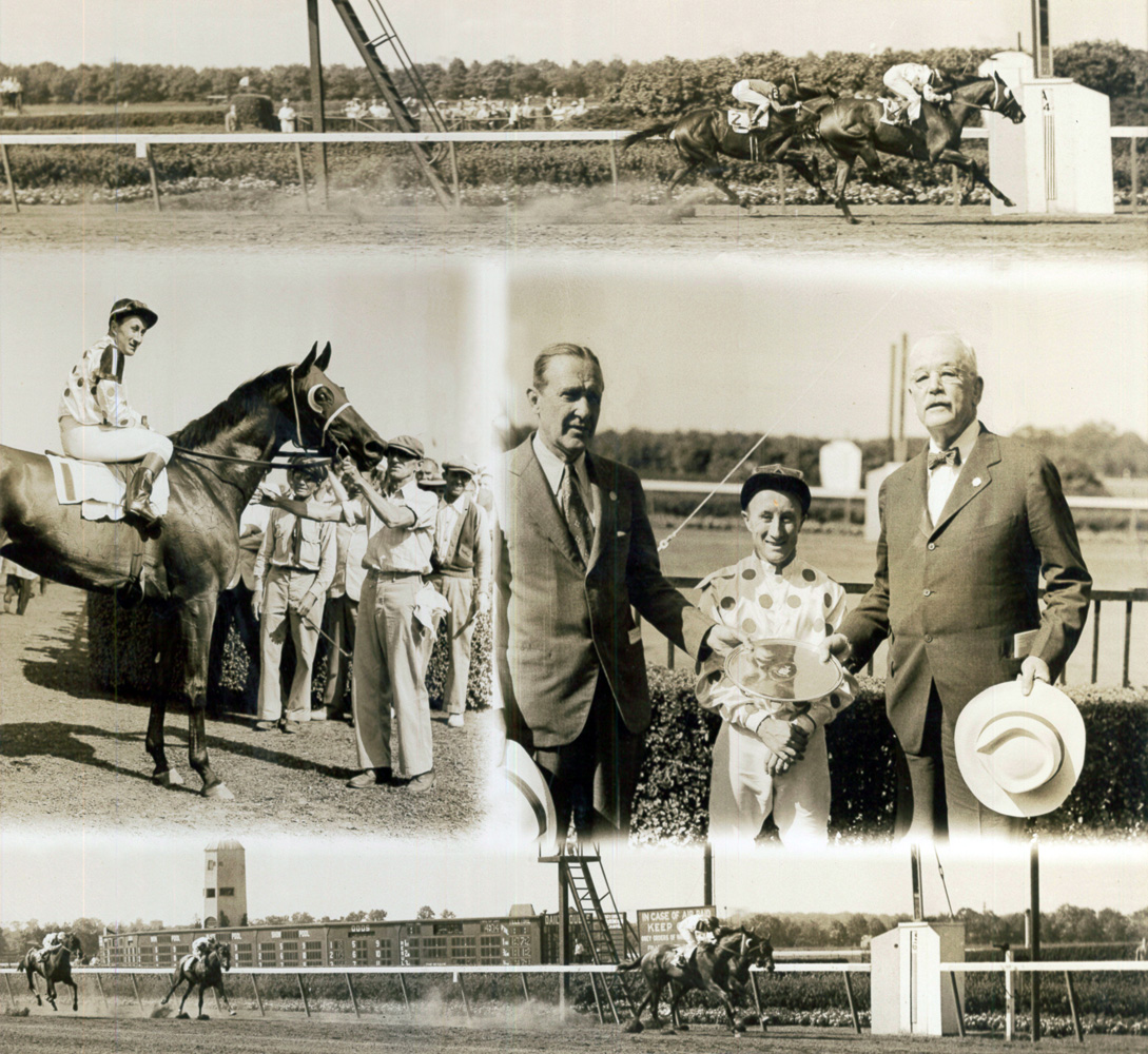 Win composite photograph from the 1944 Alabama, won by Belair Stud's Vienna (James Stout up) (Bert Morgan/Museum Collection)
