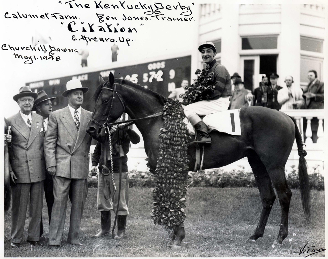 Winner's circle photo for the 1948 Kentucky Derby, won by Citation (Eddie Arcaro up), with owner Warren Wright at the far left (Jerry Vitous/Musuem Collection)