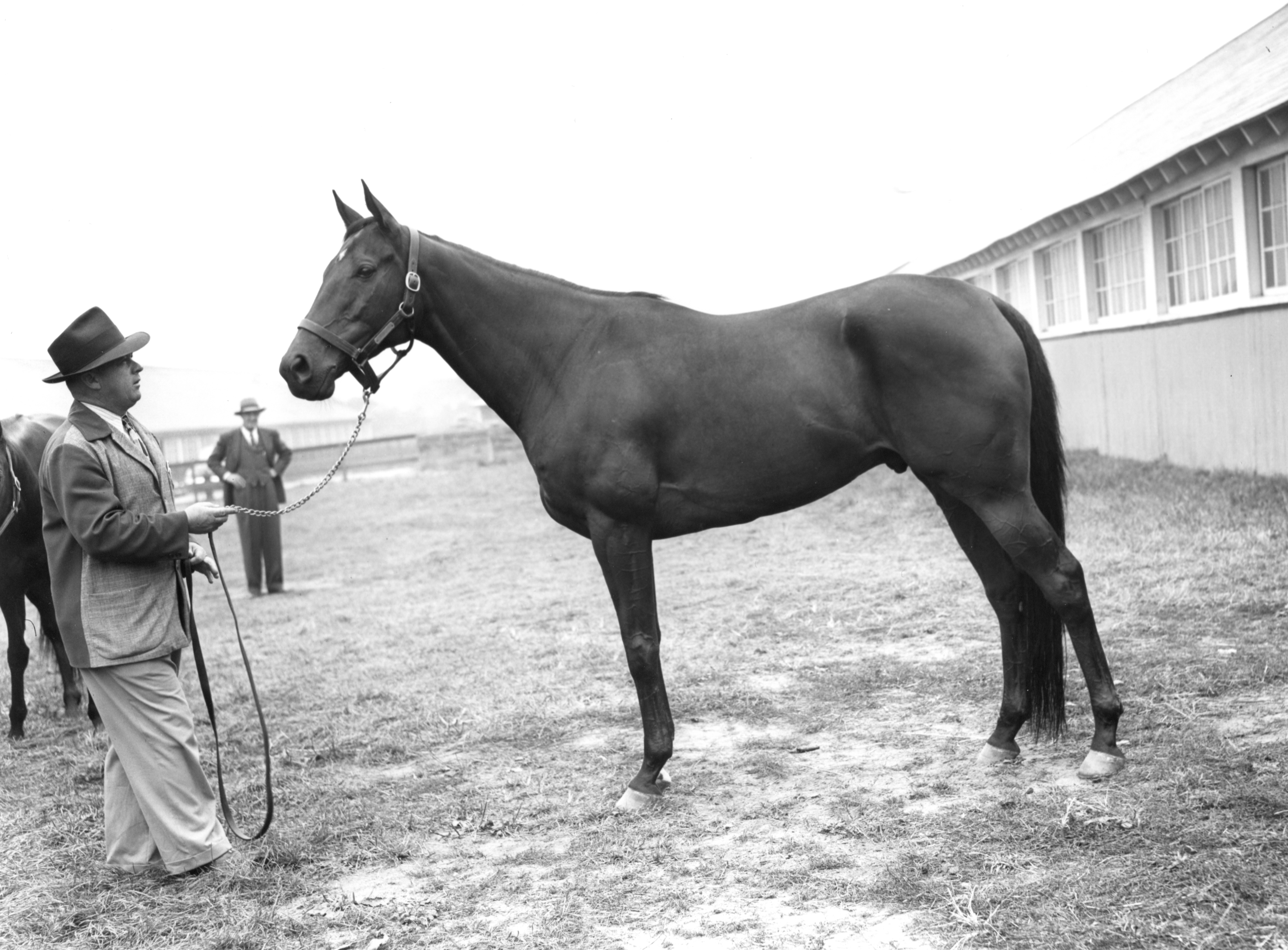 Jimmy Jones and Armed at Belmont in October 1947 (Keeneland Library Morgan Collection/Museum Collection)