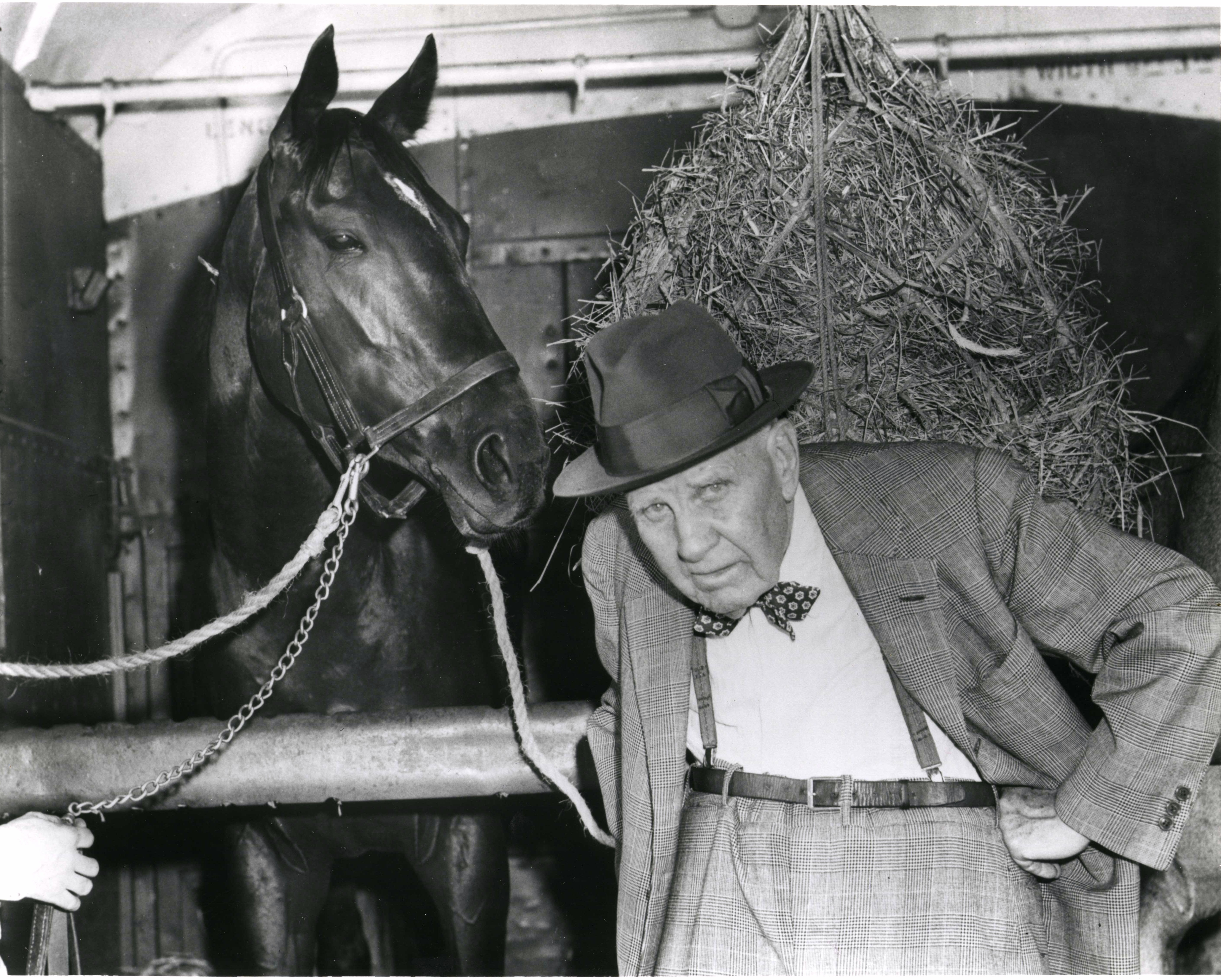 """Bold Ruler and James """"Sunny Jim"""" Fitzsimmons at Belmont, April 1957 (Keeneland Library Morgan Collection/Museum Collection)"""