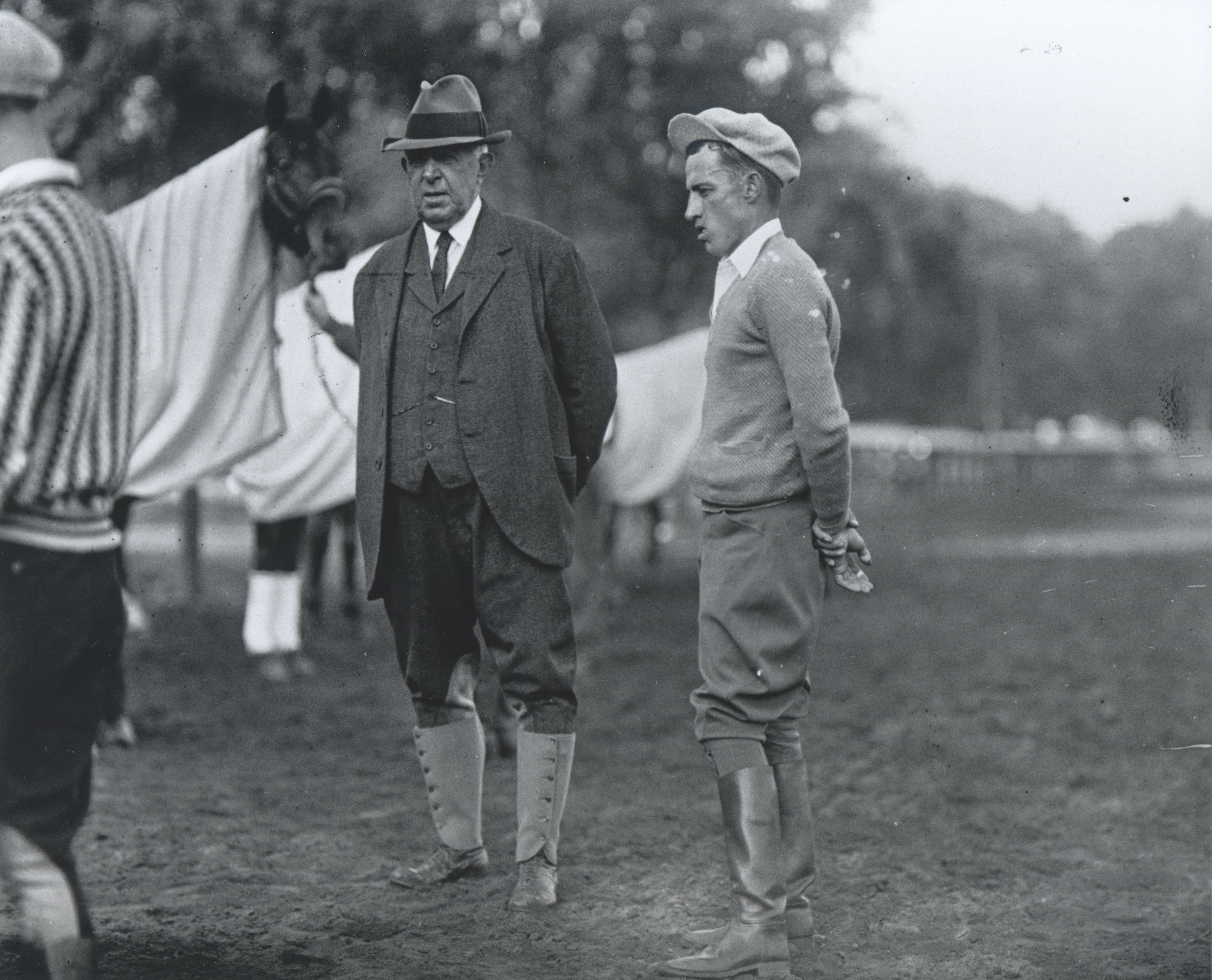 "Trainer Andrew J. Joyner and jockey J. Linus ""Pony"" McAtee (Keeneland Library Cook Collection/Museum Collection)"