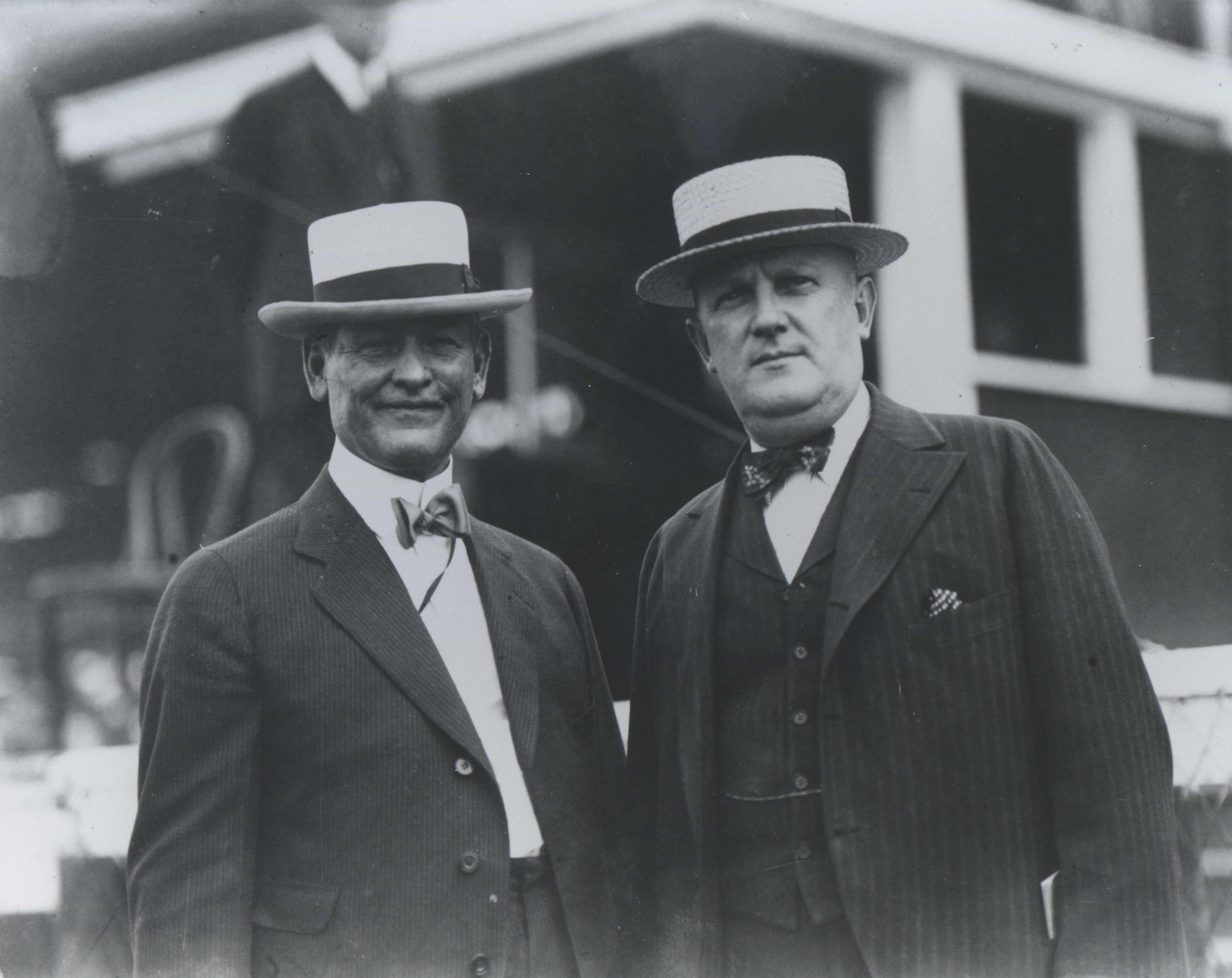 James G. Rowe, Sr. (on left) and an unidentified man (Keeneland Library Cook Collection/Museum Collection)