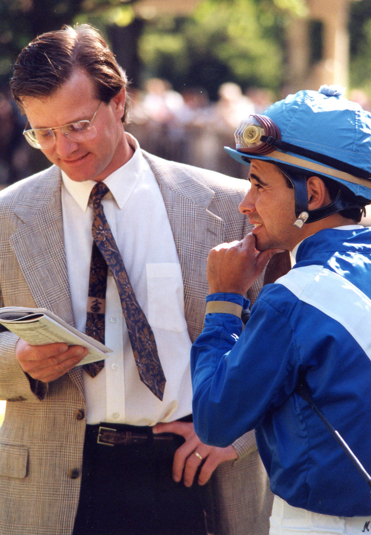 Trainer Bill Mott and jockey Mike Smith in the paddock at Belmont Park, May 1994 (Barbara Ann Giove Coletta/Museum Collection)