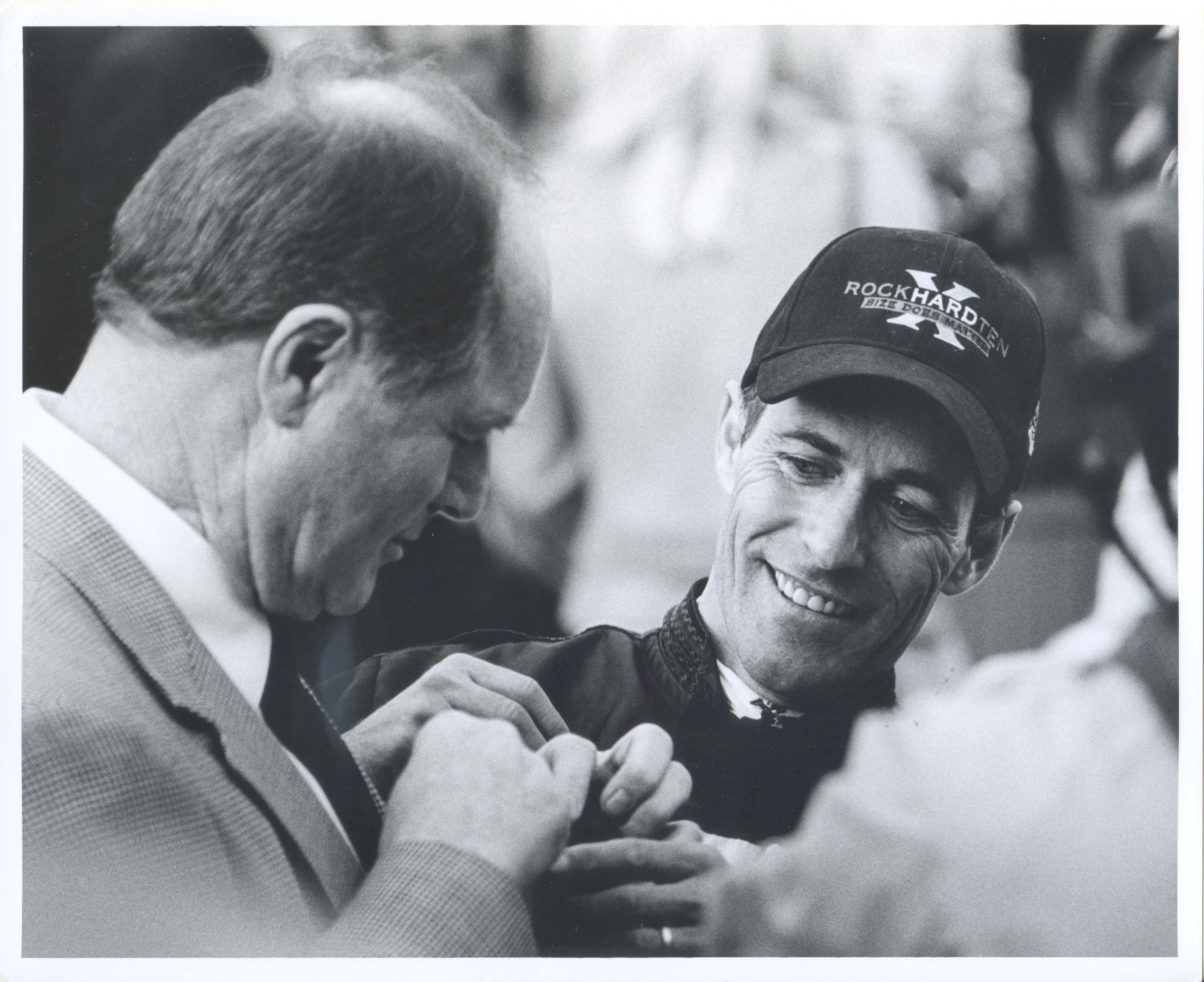 Richard Mandella and Gary Stevens after winning the 2005 Santa Anita Handicap with Rock Hard Ten (Bill Mochon/Museum Collection)