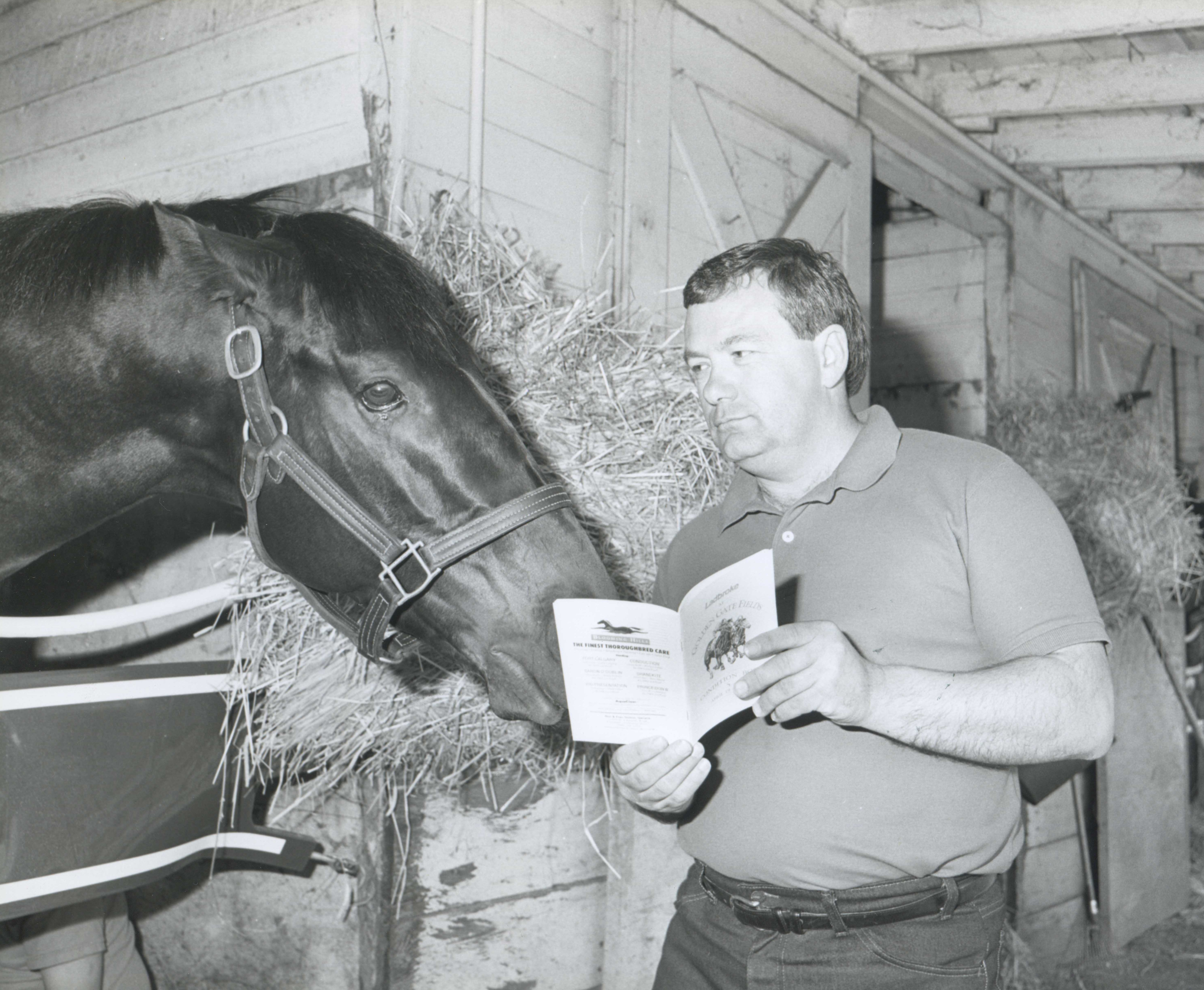 Jerry Hollendorfer with King Glorious in 1989 (Golden Gate Fields Photo/Museum Collection)