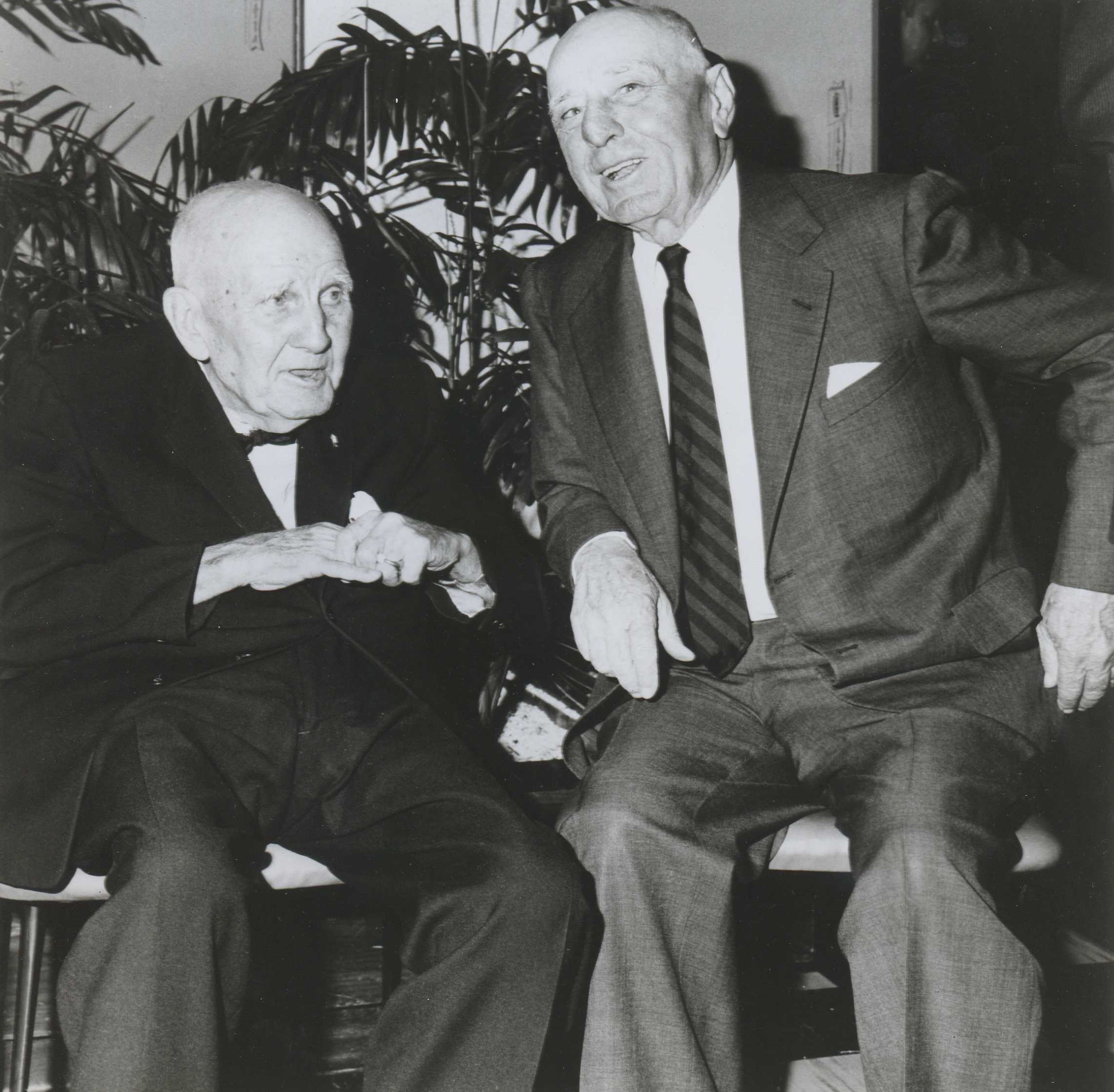 """James """"Sunny Jim"""" Fitzsimmons, left, and Max Hirsch at Saratoga, 1964 (Museum Collection)"""