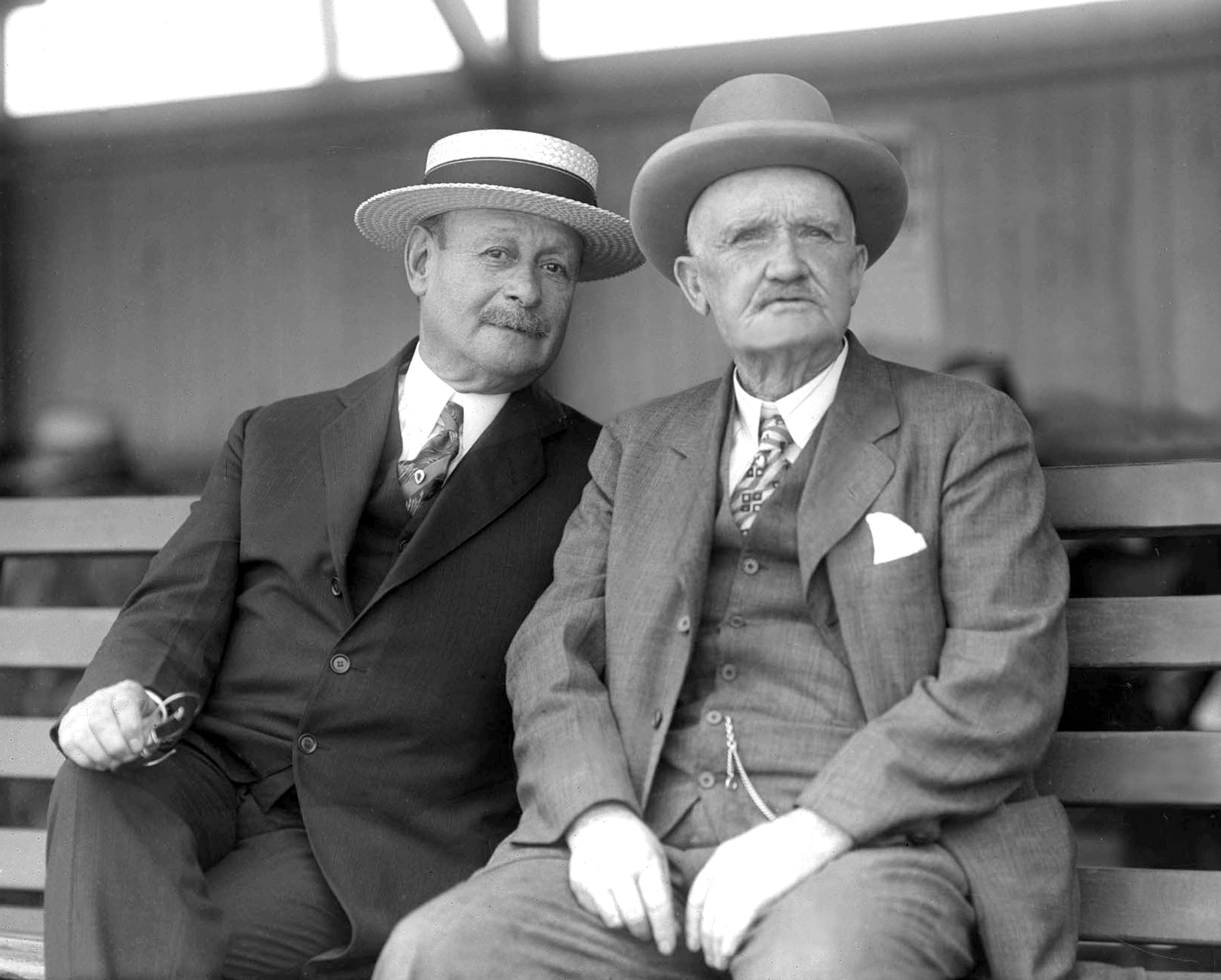 J. Adler and Matthew Byrnes in an undated photograph (Keeneland Library Cook Collection)