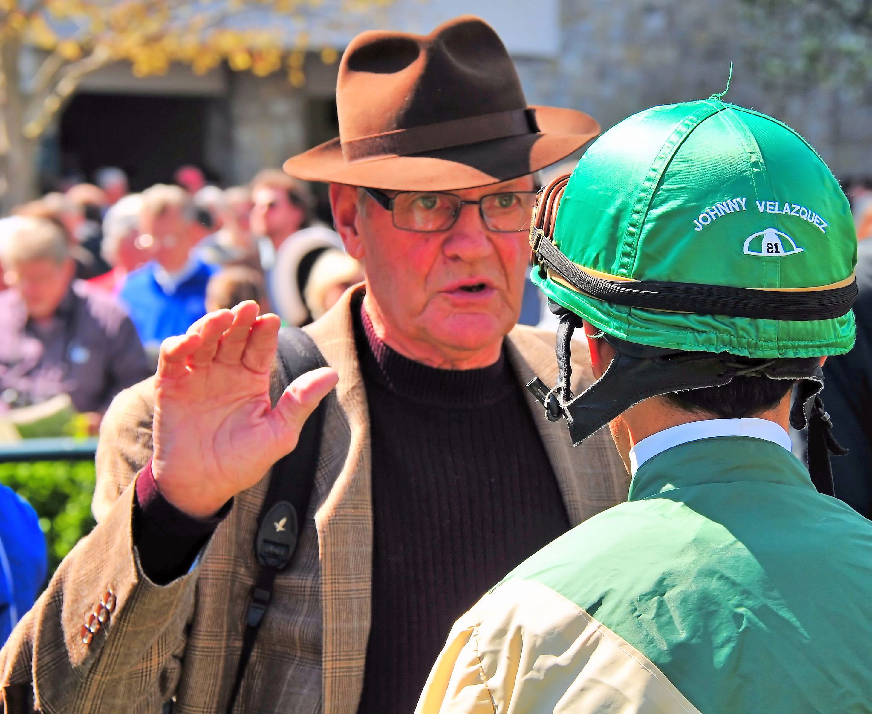 Roger Attfield and John Velazquez in the paddock at Keeneland, April 2014 (Brien Bouyea)