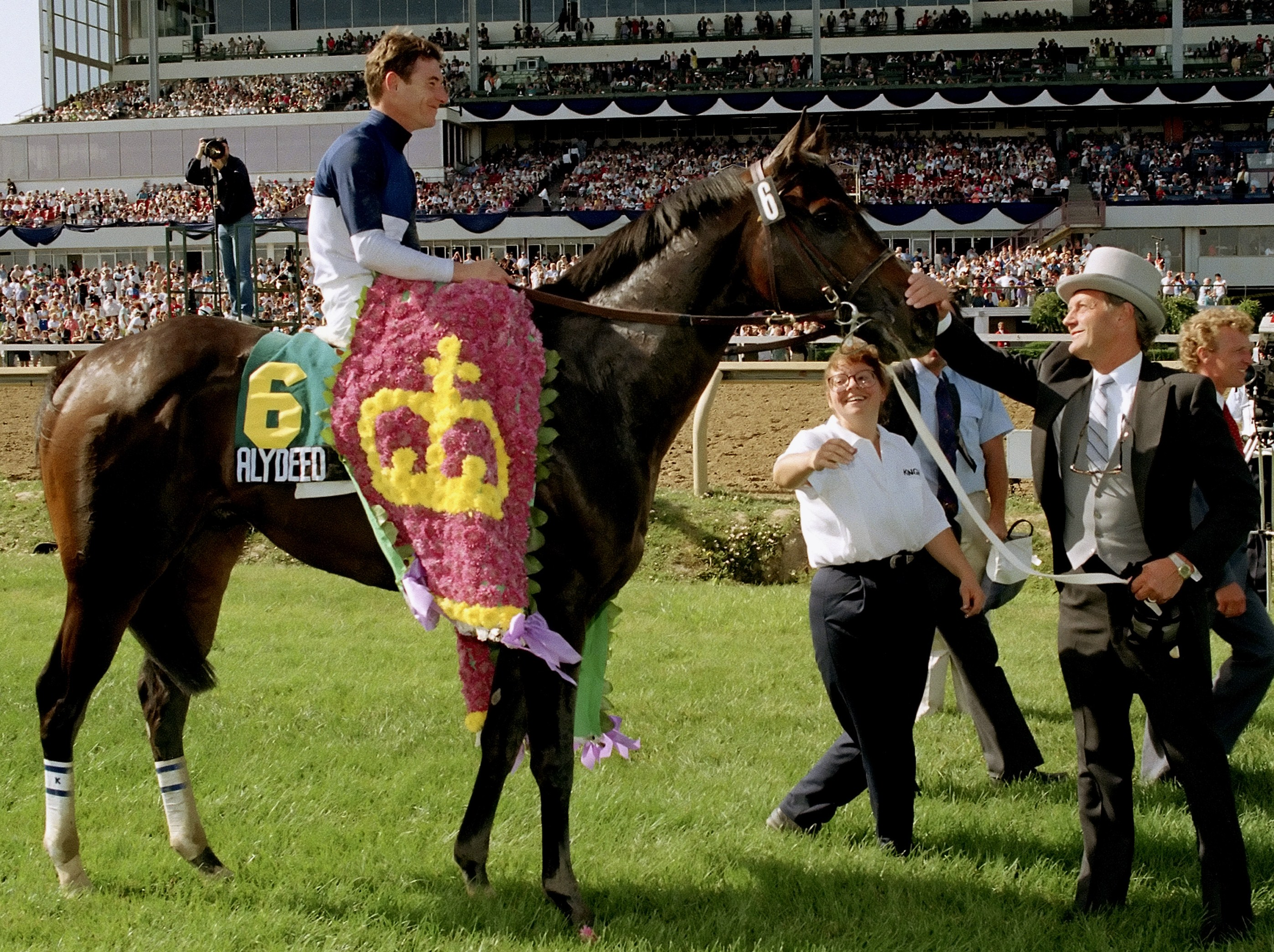 Roger Attfield and Alydeed (Craig Perret up) in the winner's circle for the 1992 Queen's Plate at Woodbine (Woodbine Photo)