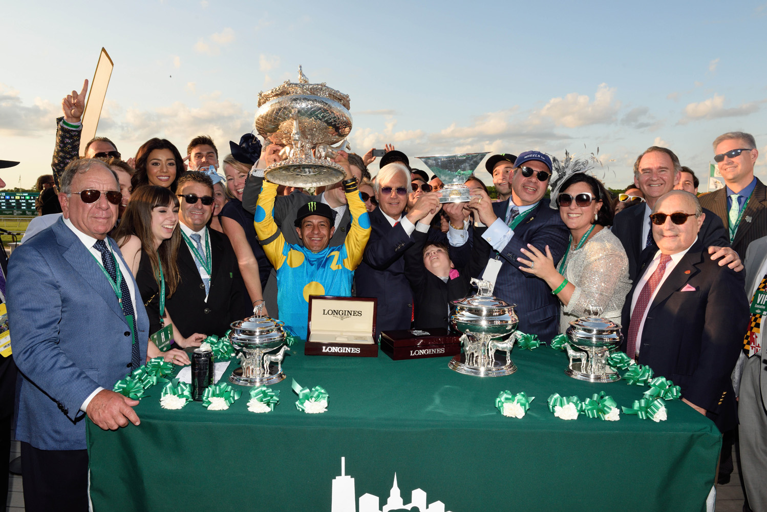 Bob Baffert and the winning connections of American Pharoah during the 2015 Belmont Stakes and Triple Crown trophy presentation (NYRA)