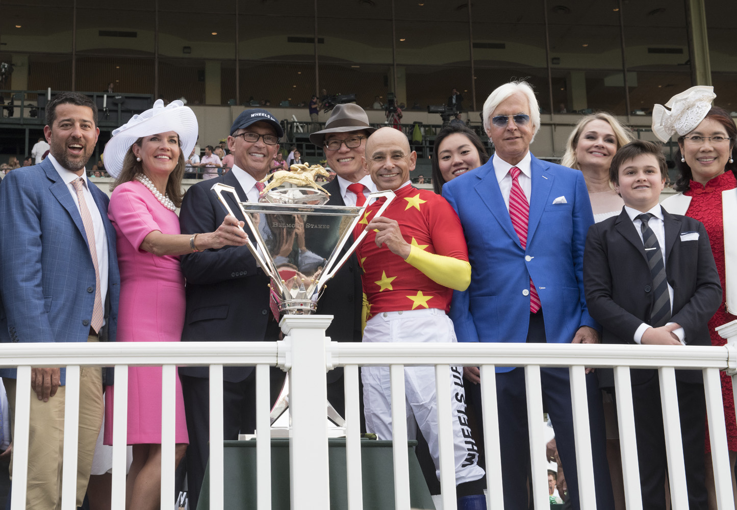 Bob Baffert and the winning connections of Justify during the 2018 Triple Crown trophy presentation (Skip Dickstein)