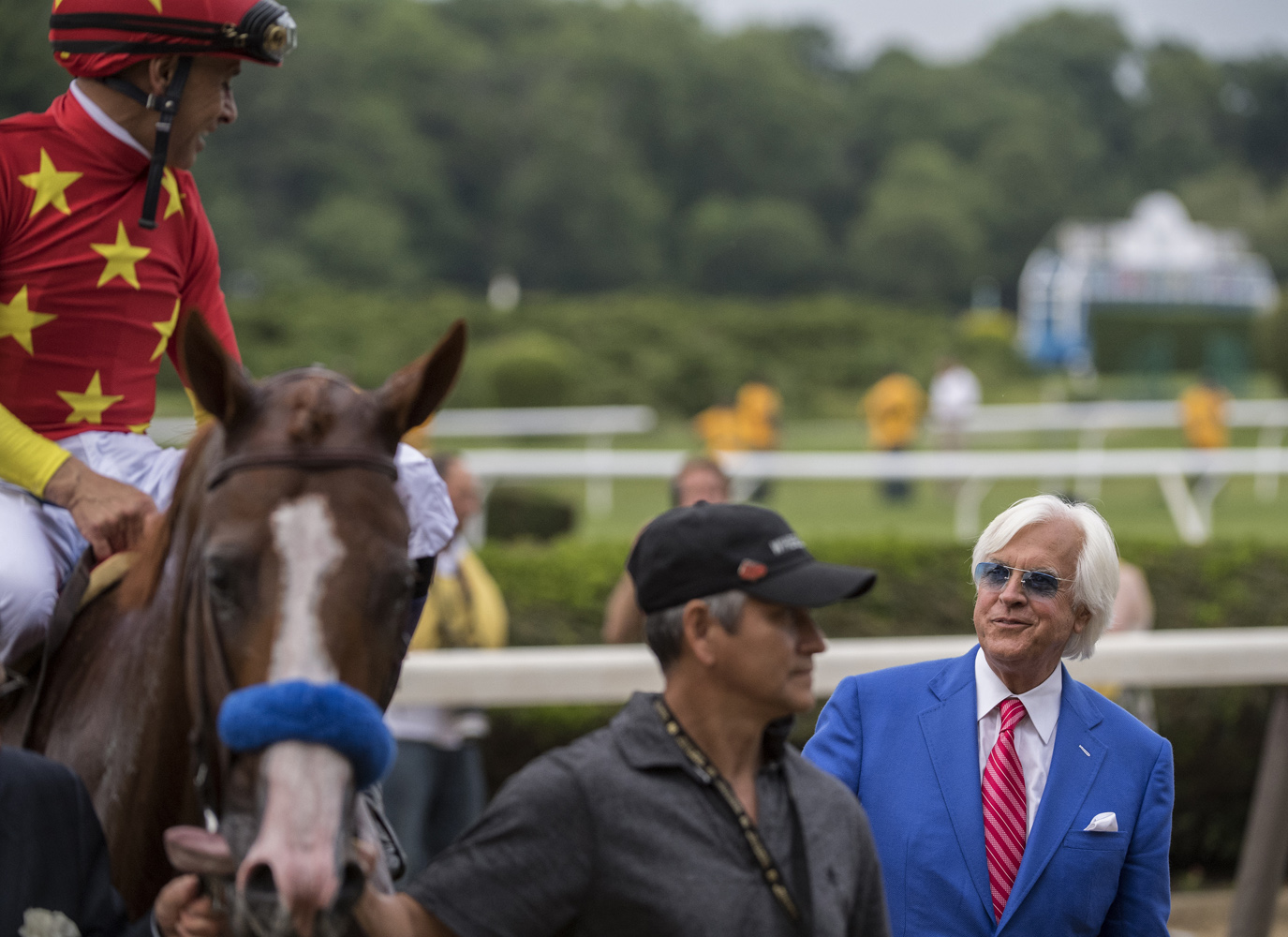 Bob Baffert and Mike Smith share a moment after Justify's Belmont Stakes and Triple Crown victory in 2018 (Skip Dickstein)