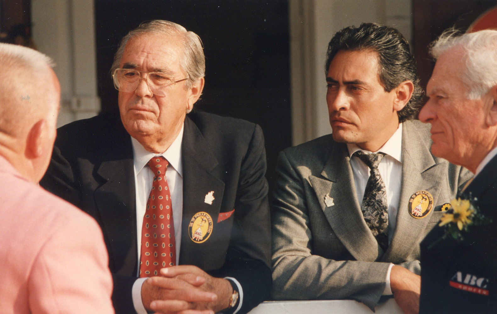 Laz Barerra and son Albert Barerra at Pimlico in May 1990 (Barbara D. Livingston/Museum Collection)