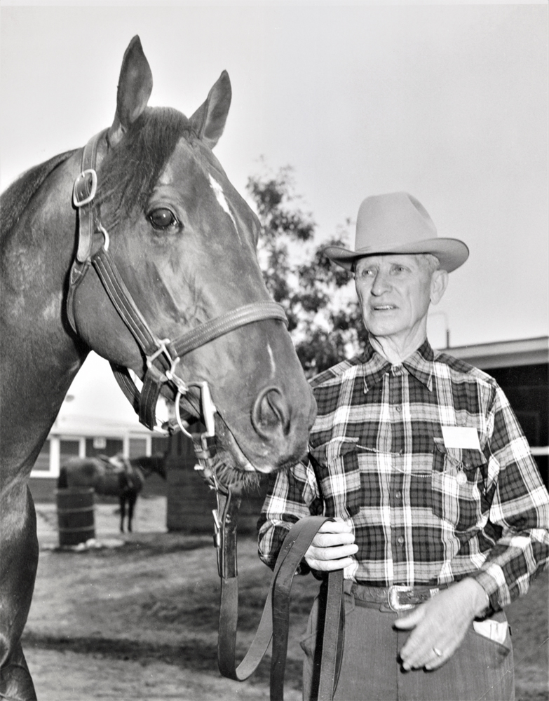 Frank E. Childs with Tomy Lee in 1959 (Keeneland Library Thoroughbred Times Collection)