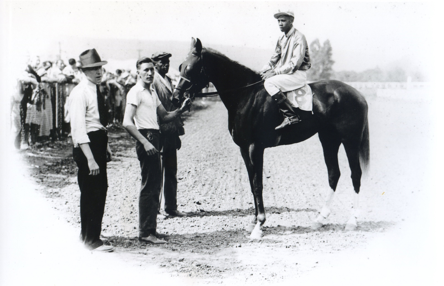 Henry Clark in the winner's circle with Opposition (R. Booker up) at Cumberland Race Track in Maryland, August 1935 (Joe Fleisher/Museum Collection)