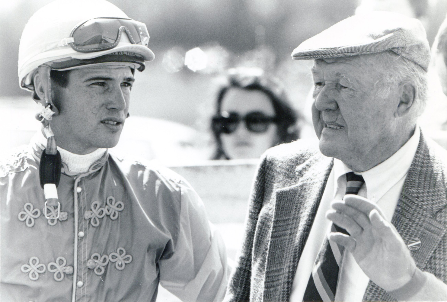 Jockey J. Lawrence and trainer W. Burling Cocks in the Foxfield paddock (Douglas Lees/Museum Collection)