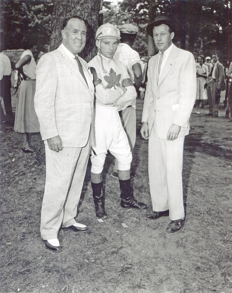 W. Burling Cocks with Vernon D. Cardy and jockey Mike Scudamore at Saratoga (Keeneland Library Morgan Collection/Museum Collection)