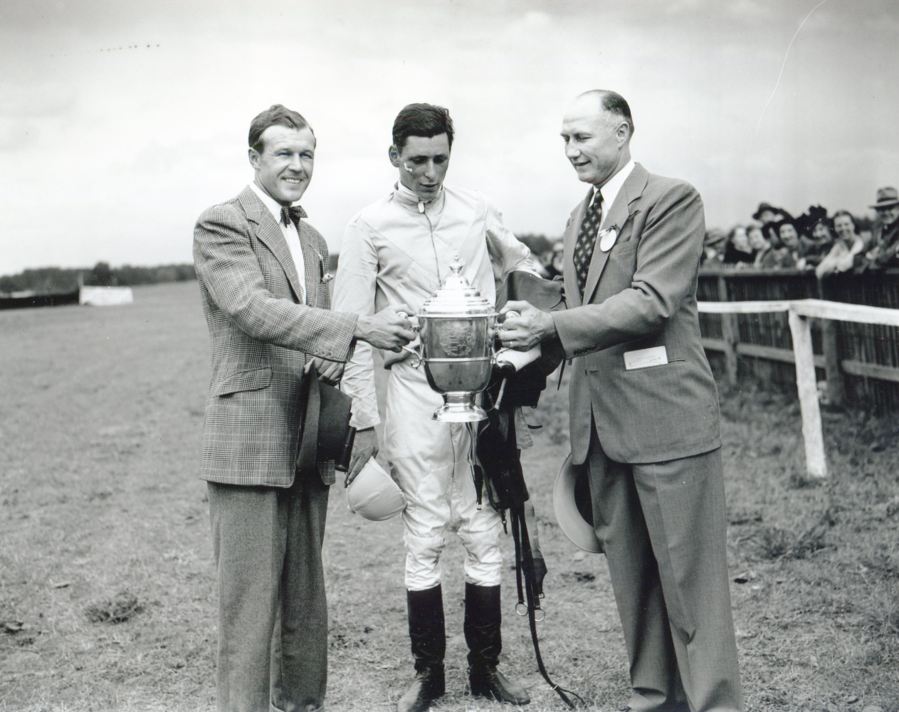 Trainer W. Burling Cocks, jockey D.M. Smitwick, and South Carolina Governor J. Strom Thurmond at the 1948 Carolina Cup trophy presentation at Camden (Keeneland Library Morgan Collection/Museum Collection)