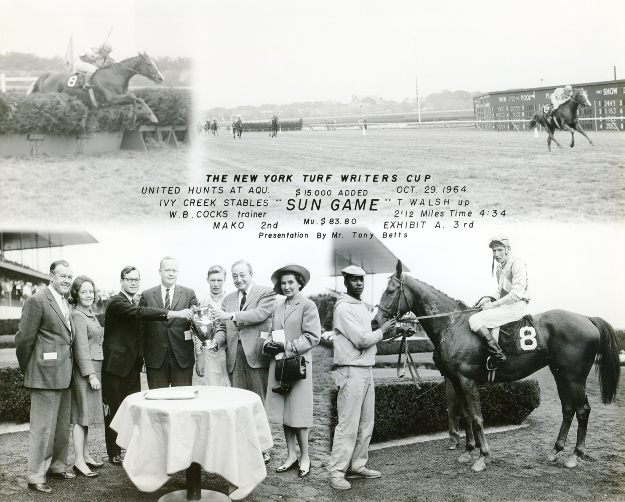 Win composite photograph for the 1964 New York Turf Writers Cup at Aqueduct, won by Sun Game (trained by W. B. Cocks) (NYRA/Museum Collection)