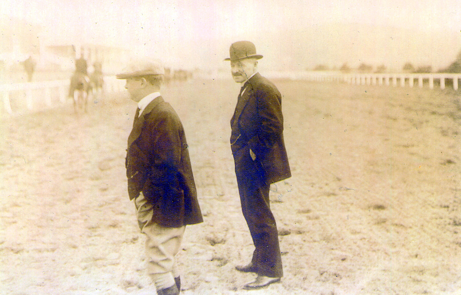 William Duke (right) on the track (Museum Collection)