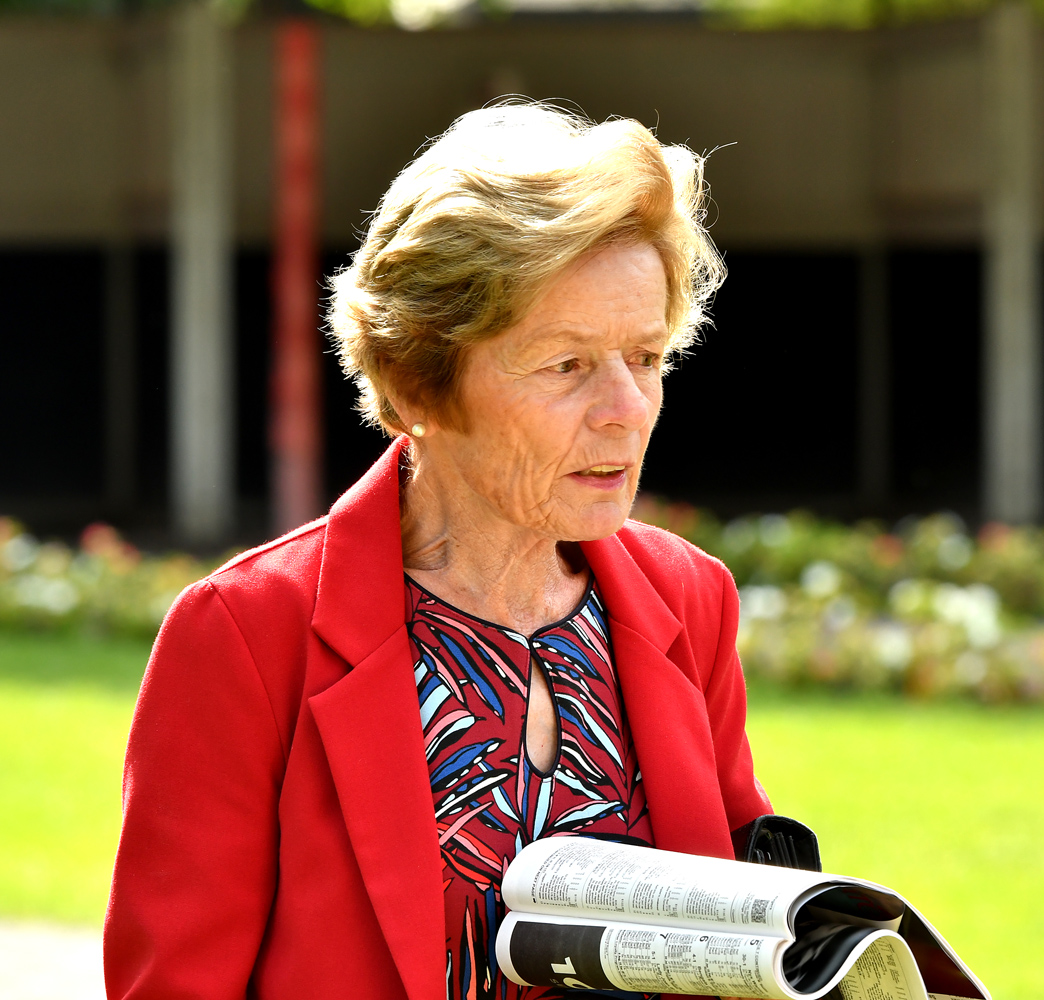 Janet Elliot in the paddock at Saratoga, August 2018 (Brien Bouyea)
