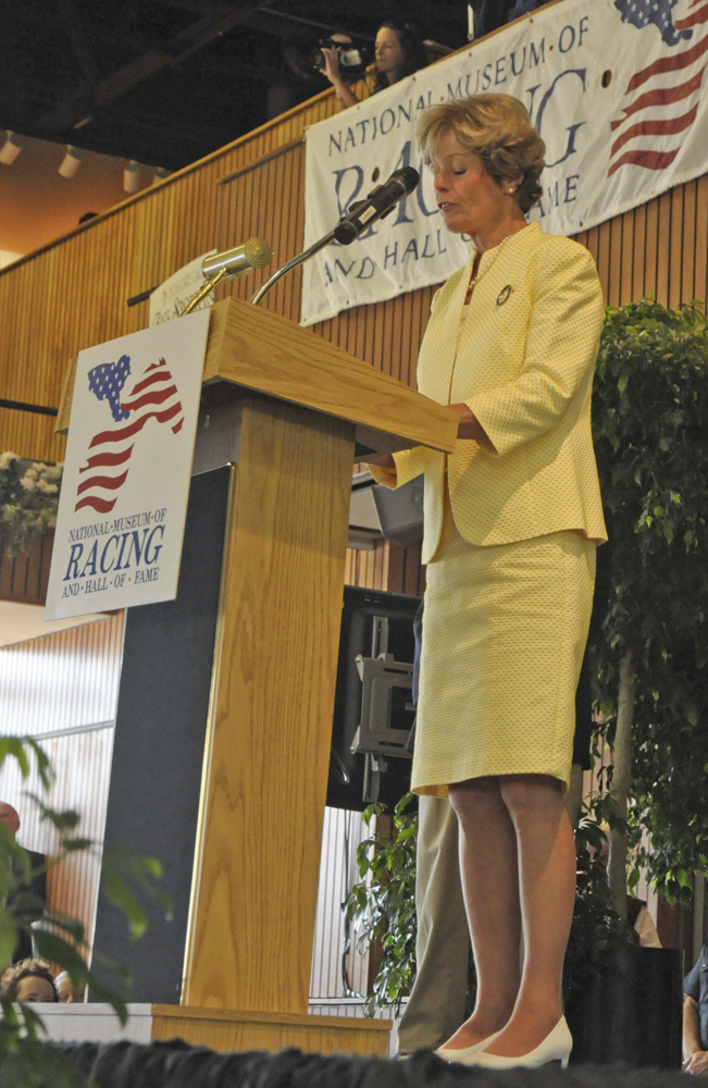 Janet Elliot becomes the first female trainer enshrined in the Hall of Fame, August 2009 (Museum Collection)