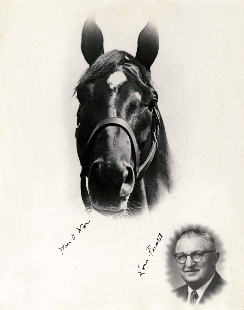 Headshots of Man o' War and his trainer, Louis Feustel (C. C. Cook/Museum Collection)