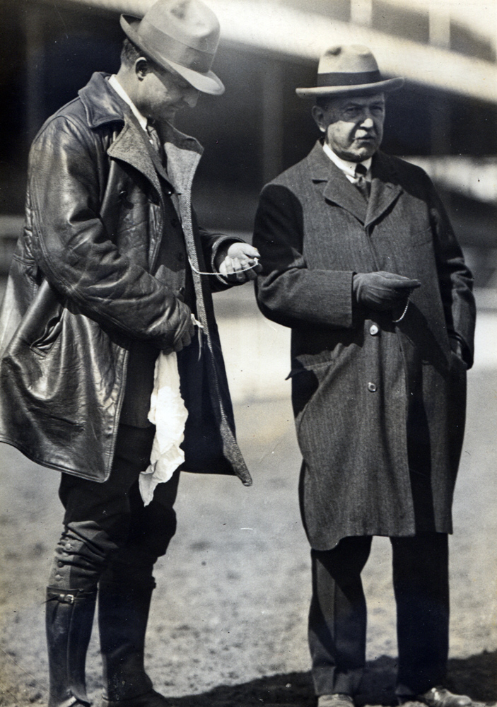 Louis Feustel and August Belmont II in 1915 (C. C. Cook/Museum Collection)