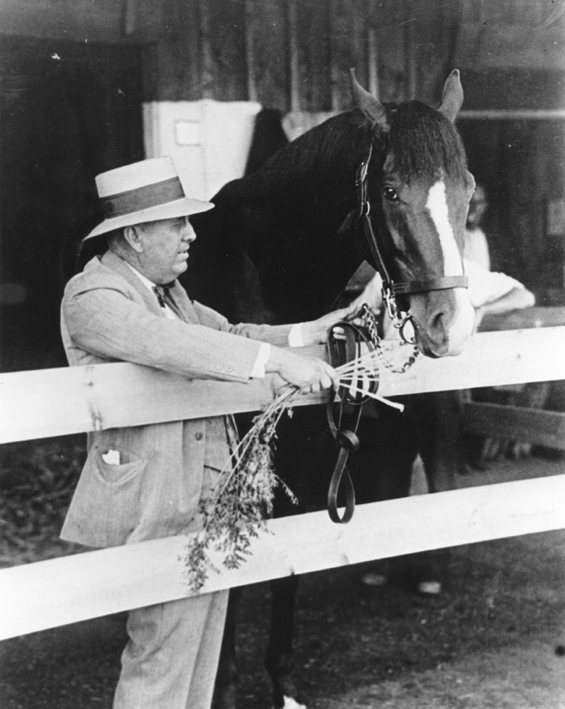 """James """"Sunny Jim"""" Fitzsimmons and Gallant Fox, his first Triple Crown winner, in 1930 (Museum Collection)"""