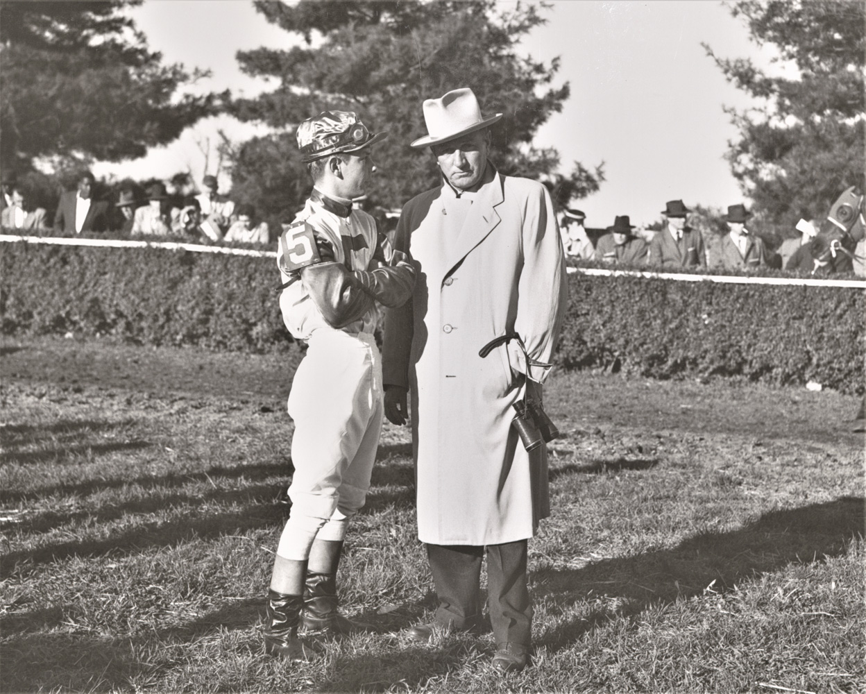 L. Risley and Henry Forrest in the paddock at Keeneland, April 1954 (Keeneland Association)