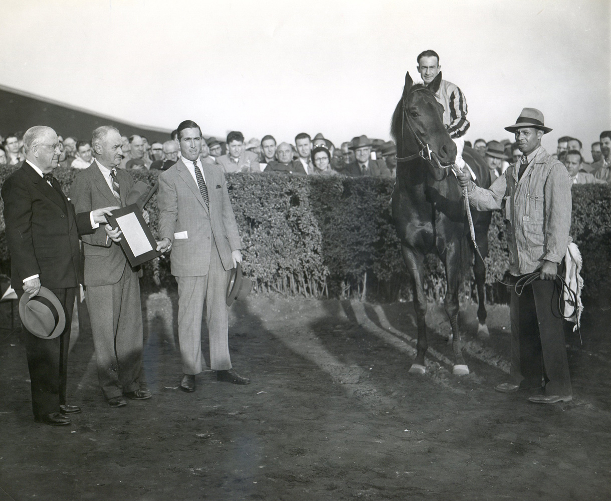 "Tom Fool (Ted Atkinson up), Ashley T. Cole, trainer John M. Gaver, Sr., and James Butler  in the winner's circle at Empire City  for his ""farewell to the turf"" in November 1953 (Empire City Photo/Museum Collection)"