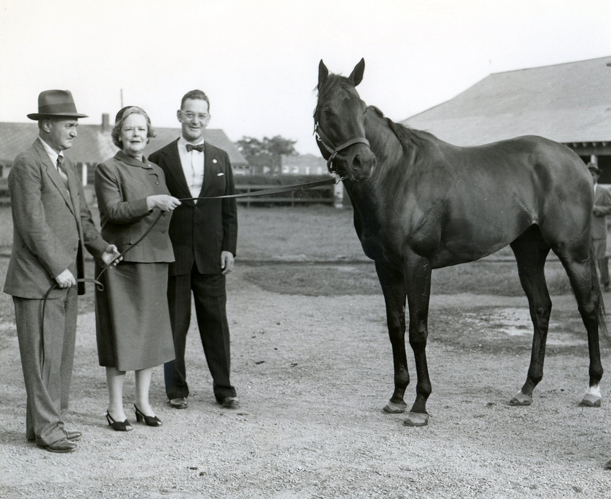 John M. Gaver, Sr., Joan Whitney Payson, and John Hay Whitney with Tom Fool (Bert and Richard Morgan/Museum Collection)