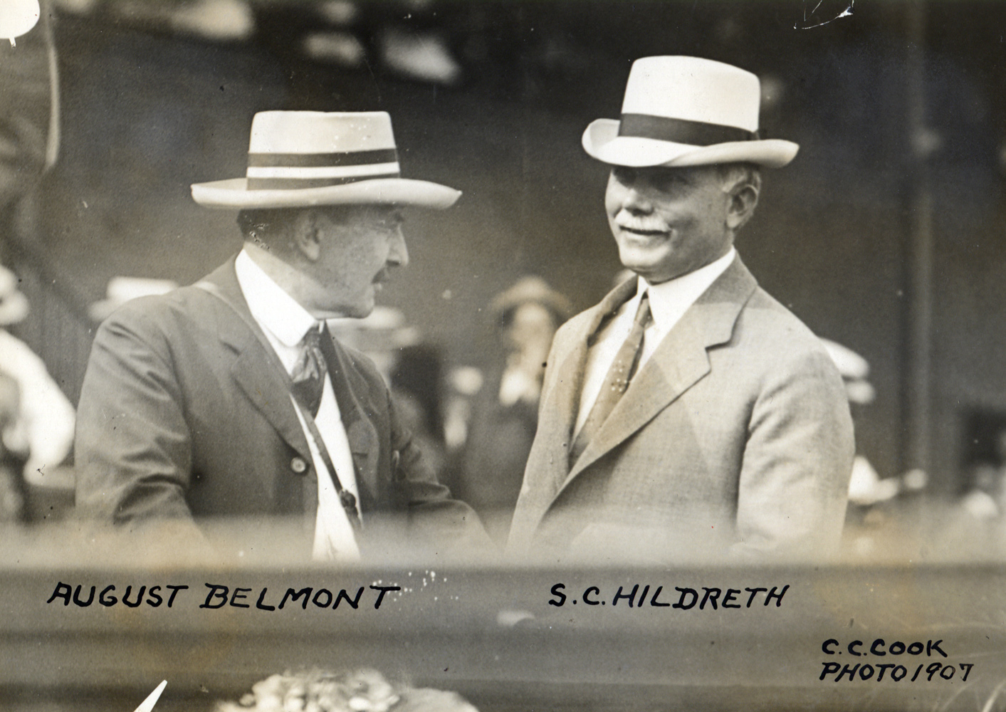 August Belmont II and Sam Hildreth at the races in 1907 (C. C. Cook/Museum Collection)