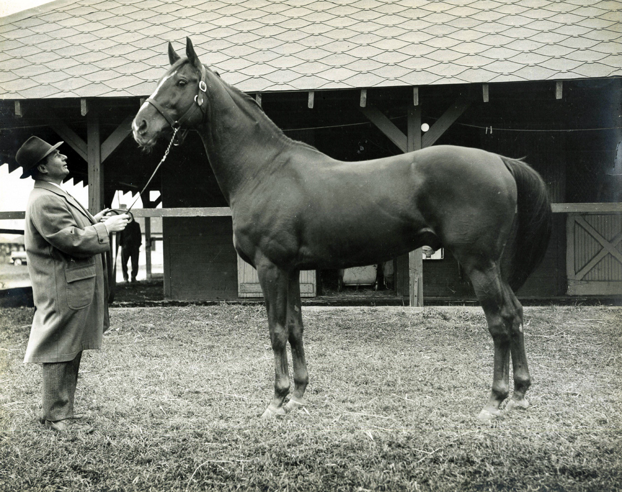 Hirsch Jacobs and Stymie at Jamaica Racetrack in the 1940s (Museum Collection)