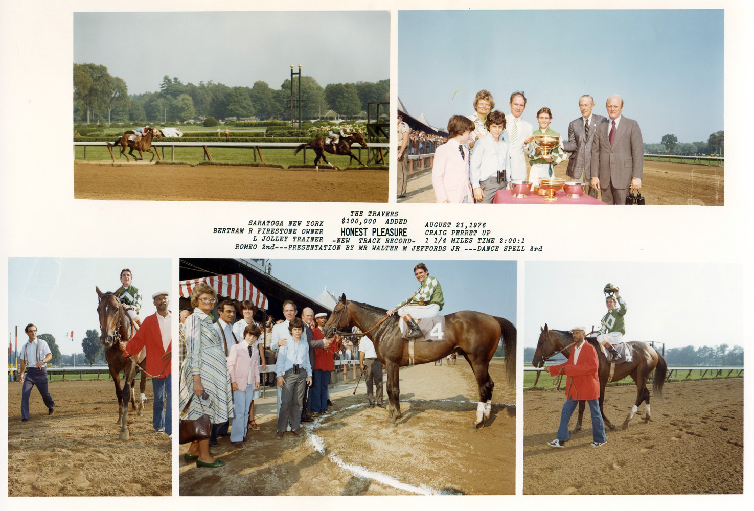 Win composite photograph for the 1976 Travers Stakes, won by Honest Pleasure (Craig Perret up), trained by LeRoy Jolley (NYRA/Bob Coglianese /Museum Collection)