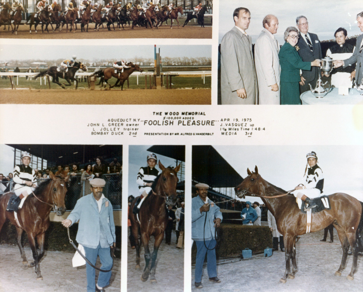 Win composite photograph for the 1975 Wood Memorial, won by Foolish Pleasure (Jacinto Vasquez up), trained by LeRoy Jolley (NYRA/Museum Collection)