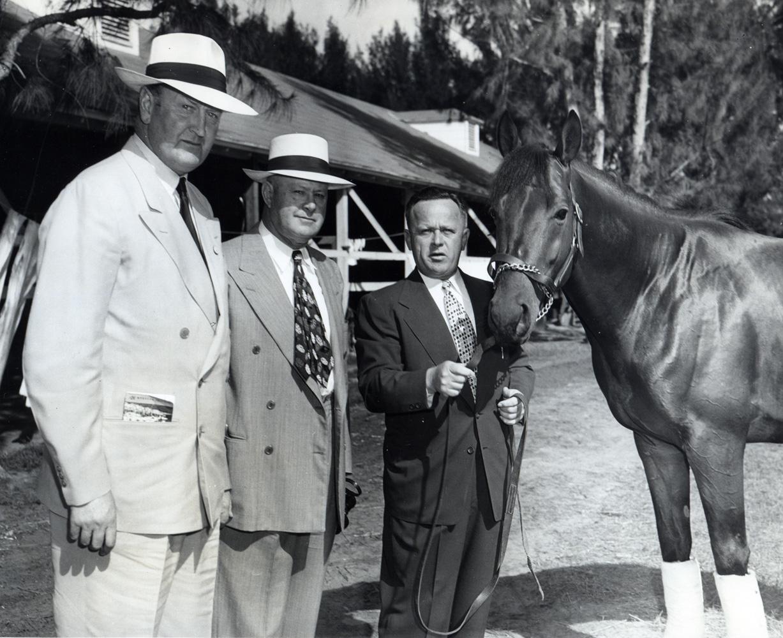 Capt. Rochefort, Ben Jones, and Jimmy Jones with Citation at Hialeah Park, January 1949 (Museum Collection)