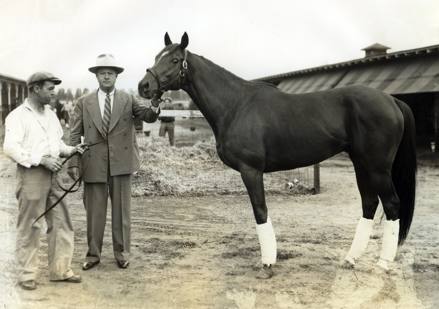 Ben Jones and Whirlaway at Narragansett Park in 1942 (Museum Collection)