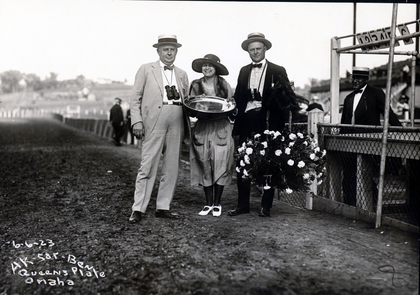 Ben Jones (on right) during the trophy presentation for the Queens Plate at Ak-Sar-Ben in June 1923 (Museum Collection)